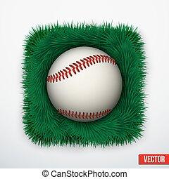 Icon Baseball ball in green grass. Vector.
