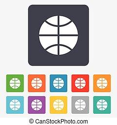 icon., basquetebol, desporto, símbolo., sinal