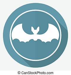 Icon Bat white circle with a long shadow