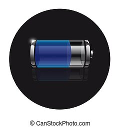 Icon battery on a black background with reflection.