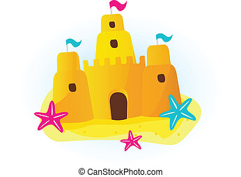 Sandcastle vector icon isolated on white background. Beautiful sand castle on the beach. Cartoon vector icon.