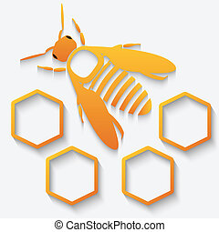 Icon bee and honeycomb - Icon with bee and honeycomb with...