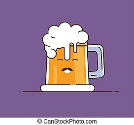 Icon beer. Vector illustration. Flat illustration in cartoon style.
