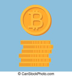 Icon Bitcoin. A stack of coins.