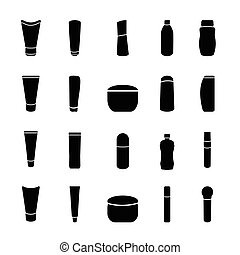 icon black cosmetics bottle vector set on white background
