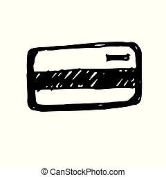 Icon black Hand drawn Simple outline credit card Symbol. vector Illustrator. on white background