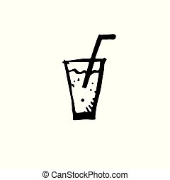 Icon black Hand drawn Simple outline Drink Symbol. vector Illustrator. on white background