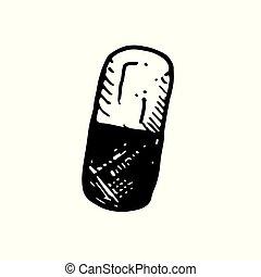 Icon black Hand drawn Simple outline drug Capsule Symbol. vector Illustrator. on white background