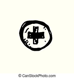 Icon black Hand drawn Simple outline Medical cross Symbol. vector Illustrator. on white background