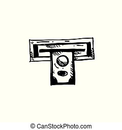 Icon black Hand drawn Simple outline money in atm Symbol. vector Illustrator. on white background