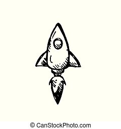 Icon black Hand drawn Simple outline rocket Symbol. vector Illustrator. on white background
