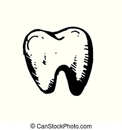Icon black Hand drawn Simple outline Tooth Symbol. vector Illustrator. on white background