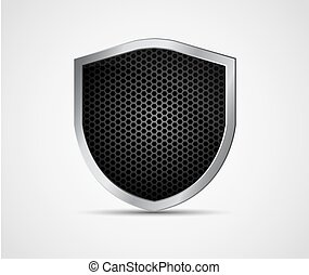 Icon black shield with metal elements