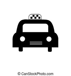 Icon black taxi on white background. Vector image for your design.