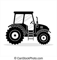 Icon black tractor on white background - vector illustration. Agricultural transport for farm in flat style.