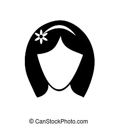 Icon black woman head on a white background