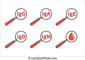Icon blood lab - Logo analysis immunoglobulin. Icon blood...