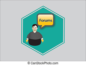 forum - Icon blue, forum, person with