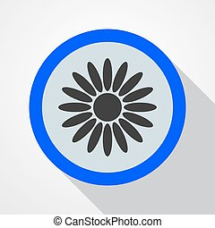 Icon blue with flower - vector illustration.