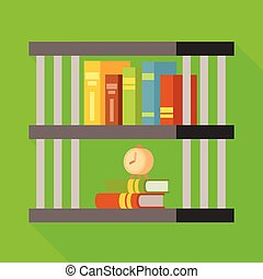 icon., boek, set, boekenplank, boekenkast, ontwerp, vector, liggen, illustration.