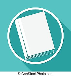 Icon book on white circle with a long shadow