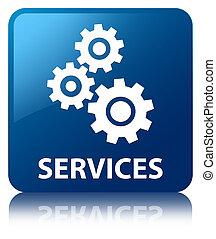 icon), bouton, carrée, services, (gears, bleu