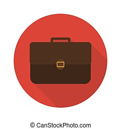 Icon briefcase with shadow. Flat sign