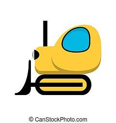 icon., brinquedo, trator amarelo