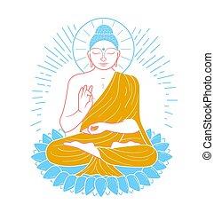 Icon buddha line - Icon - buddha purnima. Icon in the linear...