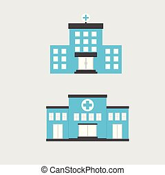 icon., buiding, conjunto, hospital, al aire libre, vector, diseño, centro, médico, illustration., concepto, plano