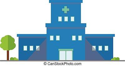 icon., buiding, illustration., hospital, al aire libre, vector, diseño, centro, médico, árbol., plano