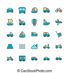 icon bundle of vehicle and transportation