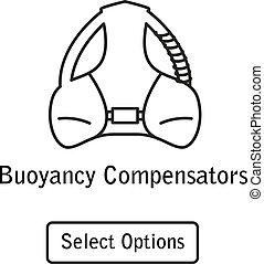 Icon buoyancy compensator scuba diving equipment in a modern...