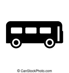 Icon bus black on white background. Vector illustration.