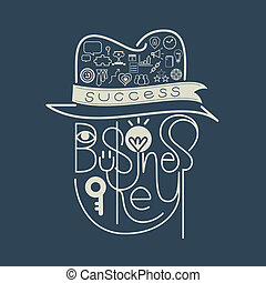Icon Business Key Success Concept  Lettering
