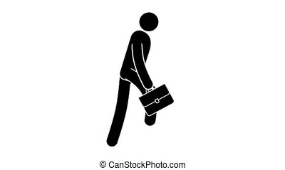 Icon businessman with briefcase running