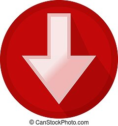 Icon button white arrow down in a red circle
