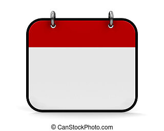 Empty calendar icon, three-dimensional rendering