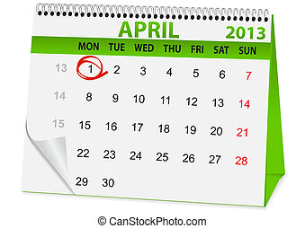 icon calendar for April 1 - icon in the form of a calendar...