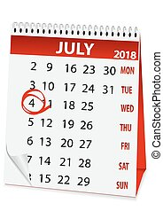 icon calendar for July 4 2018