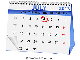 icon calendar for July 4