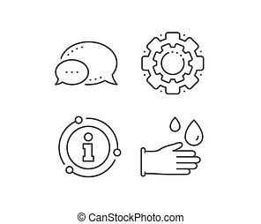 icon., caoutchouc, nettoyage, signe., vecteur, gants, ligne, hygiène