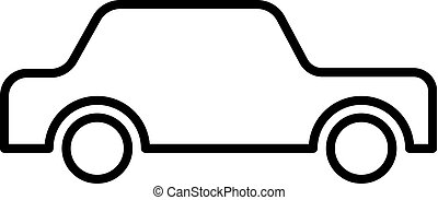 icon car black contour on a white background of vector illustration