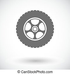 Icon car wheel. - Car wheel. Single flat icon on white...