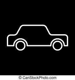 icon car white contour on a black background of vector illustration