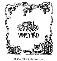 icon., carrée, fields., villa, affiche, vendange, bouteille, illustration, vignoble, verre, vecteur, noir, toile, cruche, rural, étiquette, vin., raisins, blanc, paysage, tas