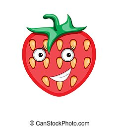 Icon cartoon character strawberry on a white isolated background. Vector image