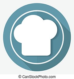Icon chef hat on white circle with a long shadow