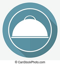 Icon chef on white circle with a long shadow
