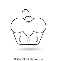 Icon cherry cupcakes with black on a white background